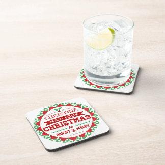 Stylish Vintage style Personalized Xmas typography Drink Coaster
