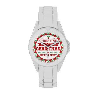 Stylish Vintage style Personalized Xmas typography Wristwatches