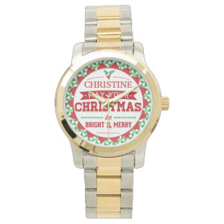 Stylish Vintage style Personalized Xmas typography Watch
