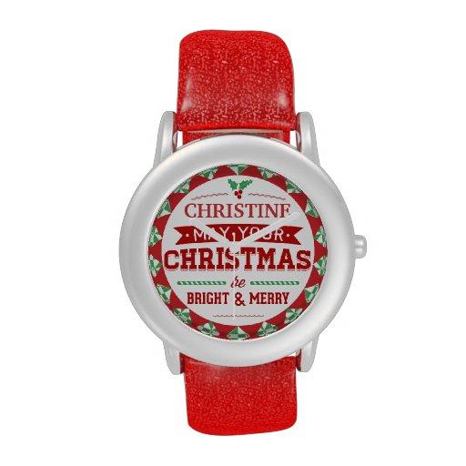 Stylish Vintage style Personalized Xmas typography Wristwatch
