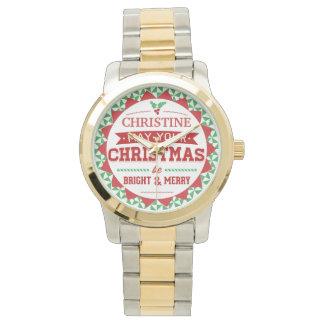 Stylish Vintage style Personalized Xmas typography Wrist Watches