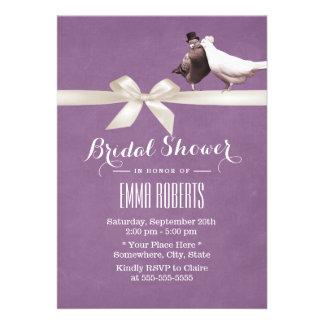 Stylish Violet Love Birds Bridal Shower Personalized Invitations