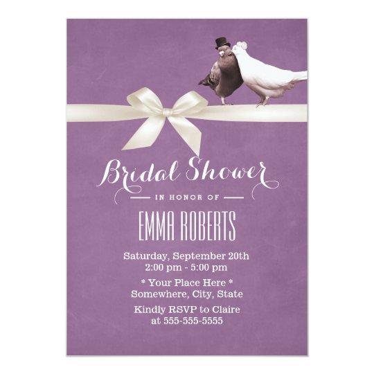 Stylish Violet Love Birds Bridal Shower Invitation