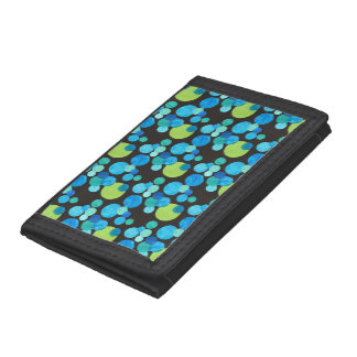 Stylish Wallet: Blue, Green Moons Pattern on Black Trifold Wallet