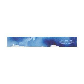 STYLISH WATERCOLOR chic dark navy blue address Wrap Around Label