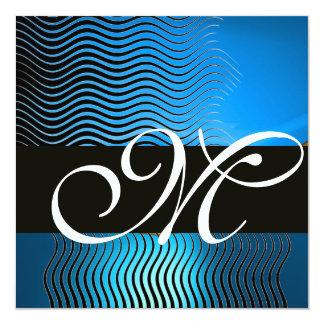 STYLISH WAVES MONOGRAM, blue sapphire Card