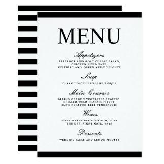 Stylish Wedding Black and White Modern Menu Card