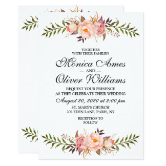 Stylish Wedding Floral Rose Watercolor Invitation