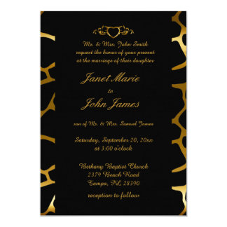 Stylish Wedding in Gold & Black Giraffe Pattern Card
