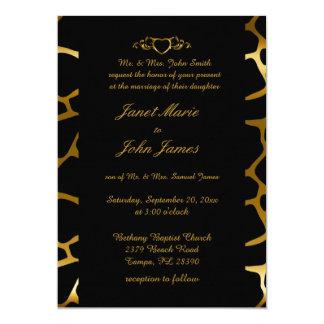 Stylish Wedding in Gold & Black Giraffe Pattern 13 Cm X 18 Cm Invitation Card