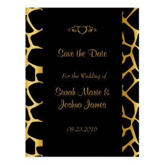 Stylish Wedding in Gold & Black Giraffe Pattern Postcard