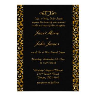 Stylish Wedding in Gold & Black Leopard 13 Cm X 18 Cm Invitation Card