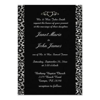 Stylish Wedding in Silver & Black Leopard 13 Cm X 18 Cm Invitation Card