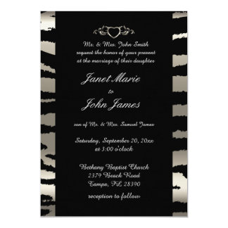 Stylish Wedding in Silver & Black Zebra Stripes 13 Cm X 18 Cm Invitation Card