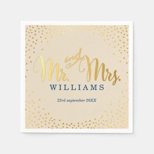 STYLISH WEDDING mini confetti gold navy ivory Paper Napkins
