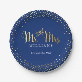 STYLISH WEDDING TABLE mini confetti gold navy Paper Plate