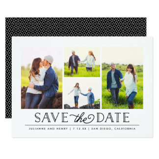 Stylish White 4 Photo Save the Date Card