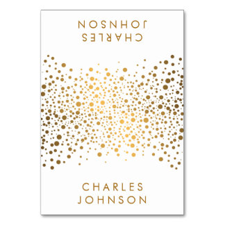 Stylish White and Gold Confetti Dots | Place Cards Table Card
