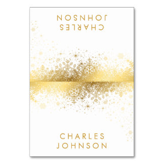 Stylish White and Gold Snowflakes | Place Cards Table Card