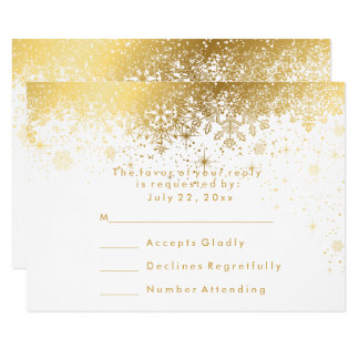 Stylish White and Gold Snowflakes - RSVP Card