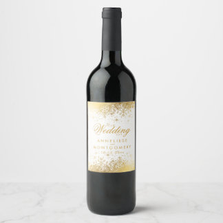 Stylish White and Gold Snowflakes Wedding Wine Label