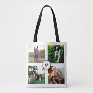 Stylish White Four Photo Grid with Monogram Tote Bag