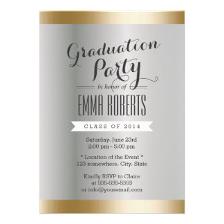 Stylish White Gold Foil Striped Graduation Party Custom Announcement