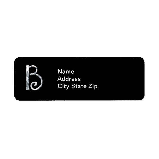 Stylish White Monogrammed Label (B) Return Address Label
