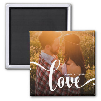 Stylish White Overlay | Love with Photo Square Magnet