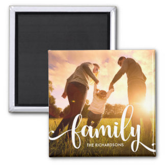 Stylish White Overlay | Your Family Photo Square Magnet