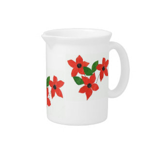 Stylish White Pitcher with Red Floral Design