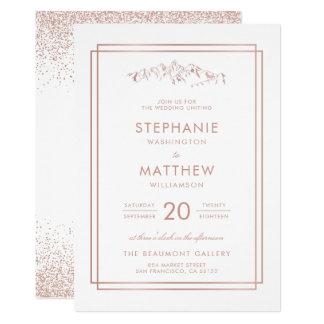 Stylish White & Rose Gold Mountain Wedding Card