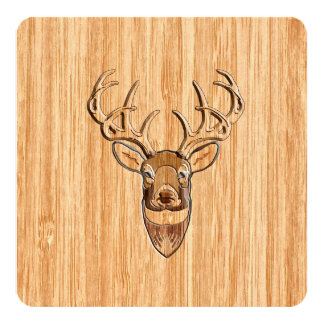 Stylish White Tail Buck Antlers Light Wood Grain 13 Cm X 13 Cm Square Invitation Card