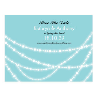 Stylish Winter Sparkles Glow Save The Date Photo Post Card