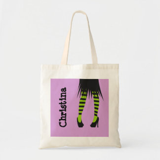 Stylish witch fashion stripe leggings Halloween Tote Bags