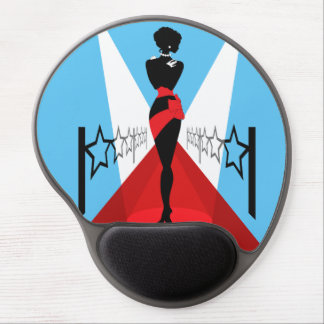 Stylish woman silhouette on red carpet with stars gel mouse pad
