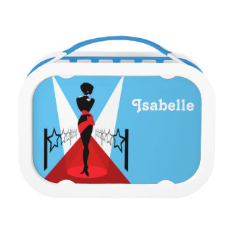 Stylish woman silhouette on red carpet with stars lunch boxes