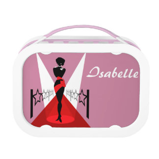 Stylish woman silhouette on red carpet with stars lunchbox