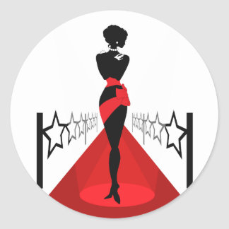 Stylish woman silhouette on red carpet with stars round sticker