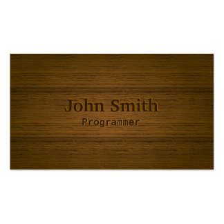 Stylish Wood Embossing Programmer Business Card