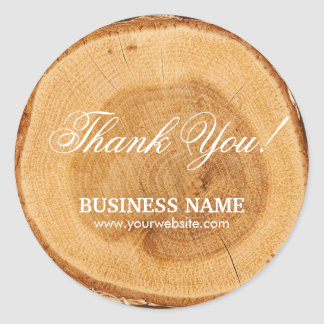 Stylish Wooden Tree Rings Business Thank You Classic Round Sticker