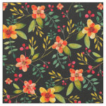 Stylish Yellow Black Floral Watercolor Fabric