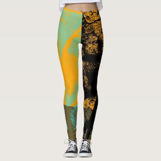 Stylish Yellow Black Mint Leaf Leggings