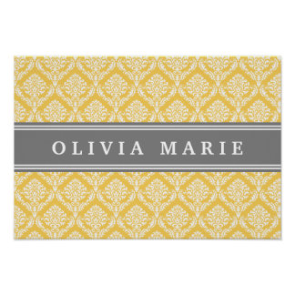 Stylish Yellow Damask Pattern with Grey Name Poster