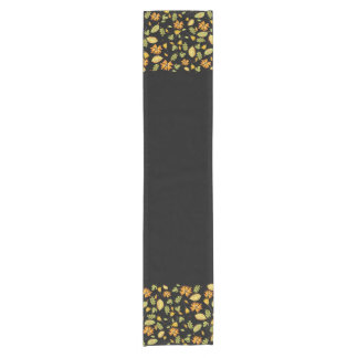 Stylish yellow floral border black table runner