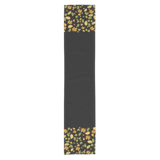 Stylish yellow floral border black table runner
