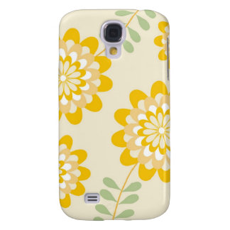 Stylish Yellow Floral Pattern - Cream Galaxy S4 Case