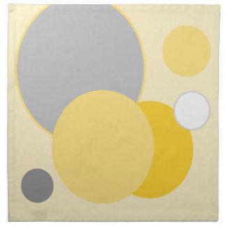 Stylish Yellow & Gray Circles Napkin