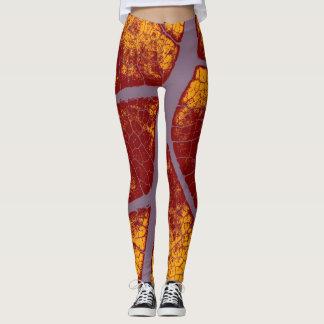 Stylish Yellow Maroon Leaf Leggings