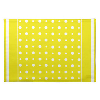 Stylish Yellow Placemat with White Polka Dots